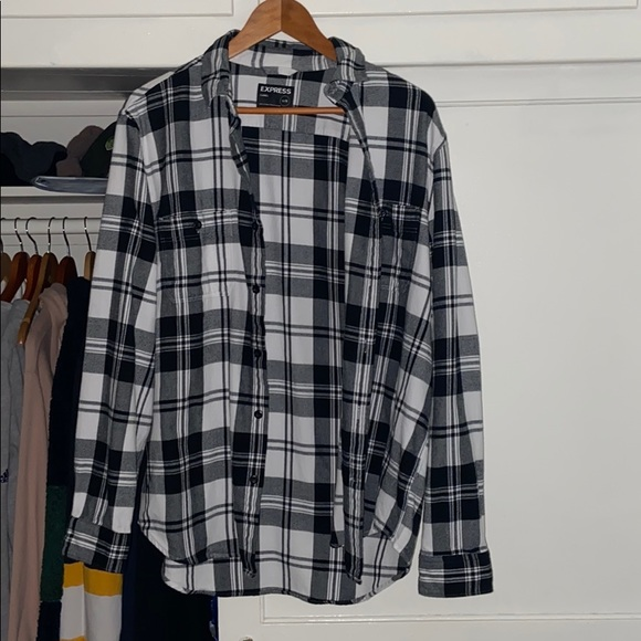 Express Other - Express black and white plaid flannel shirt